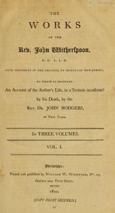 John Witherspoon, Title Page vol. 1 of 3 vols, 1800, 8-10-2015