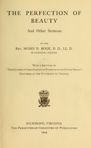 M. D. Hoge, Title Page, Perfection of Beauty, Sermons, 1904, 8-28-2015