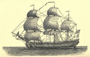 British Sailing Ship, 18th Century, 1906, 8-27-2015