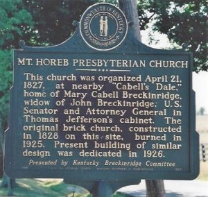 Mt. Horeb PC, Lexington, KY, State Historical Marker, 100 dpi, Taken 6-21-2007