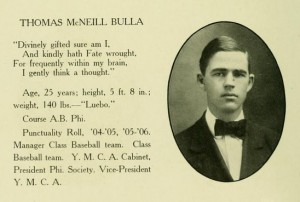 Thomas M. Bulla, Davidson Grad. Photo, 1907, From Yearbook, Age 25, 11-12-2014