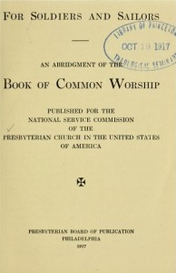 Title Page, Abridgement of Book of Common Worship for Soldiers and Sailors, 1917, 8-26-2015