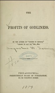 Title Page, Profits of Godliness, by A. W. Loomis, 1859, 8-27-2015