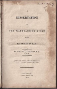 J. H. Livingston, Title Page, Book on DWS Marriage, 9-4-2015
