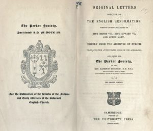 Original Letters English Reformation, Parker Society, Title Page, 10-20-2015