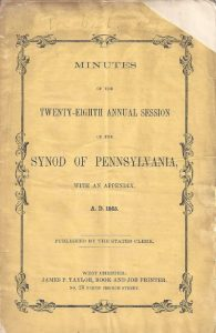 Cover, NS PCUSA Synod of PA, Minutes 1865, 11-11-2015