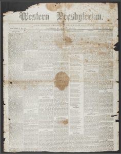 Western Presbyterian, Aug. 10, 1865, Full Front Page, 11-11-2015