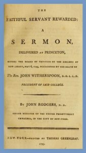 John Rodgers, Title Page, Memorial Sermon for Witherspoon, 1795, 12-16-2015,