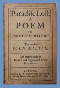 Milton, Paradise Lost, Title Page, 1674, 2-12-2016