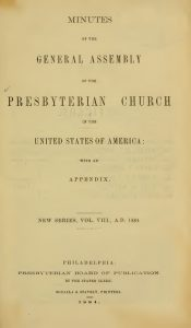 PCUSA GA Minutes Title Page, 1884, 5-27-2016