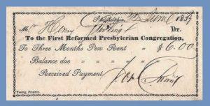 Pew Rental Receipt, 5-2-2016