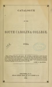Title Page, Catalogue SC College, 1854, 5-24-2016