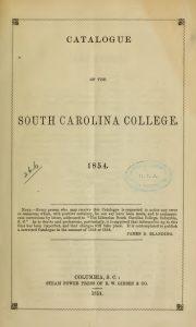 Title Page, Catalogue SC College, 1854, 5-24-2016