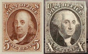 First 2 U.S. Stamps, Franklin and Washington, 1847, 8-31-2016